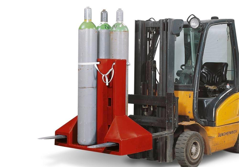 Specialpalle til gasflasker på truck