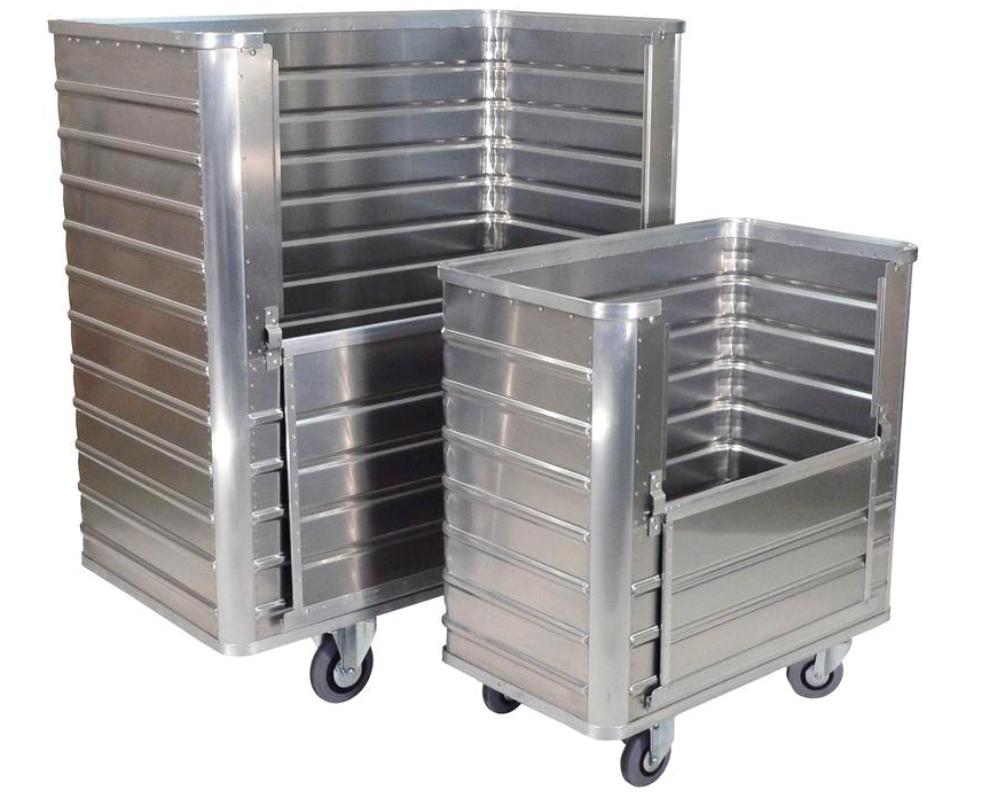 Transportvogne i aluminium med afklappelig bagside